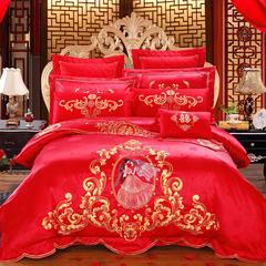 慕她家纺全棉纯棉婚庆四件套大红色刺绣结婚六件套多件套嫁给我吧 1.5m(5英尺)床 四件套