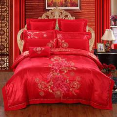 慕她家纺全棉纯棉婚庆四件套大红色刺绣结婚六件套多件套爱的记忆 2.0m(6.6英尺)床 四件套