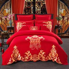 慕她婚庆全棉加刺绣系列(喜结良缘 婚嫁) 精品手提大红包装10元/个 八件套床盖款