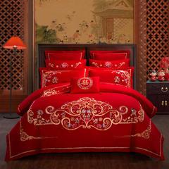 慕她家纺 婚庆四件套大红色刺绣结婚全棉纯棉多件套  天生一对 加大(2.0m-2.2m床) 十一件套床笠款