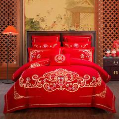 慕她北京pk10开奖上鼎狐网四件套大红色刺绣花全棉纯棉结婚六八十多件套天生一对 1.8m(6英尺)床 天生一对八件套