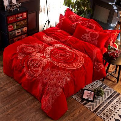 铂金磨毛四件套 大红金粉花型 标准(1.5m床) 千禧至爱