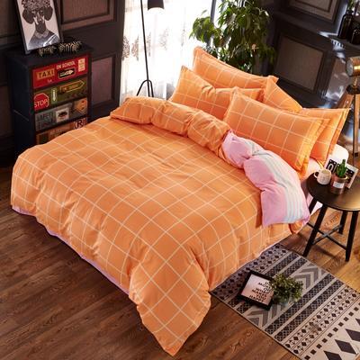 铂金磨毛四件套 糖果色小格子简约花型 标准(1.5m床) 经典格-橘