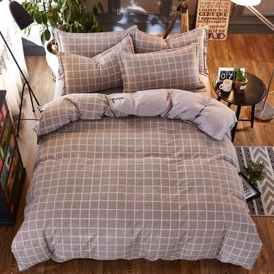 铂金磨毛四件套 糖果色小格子简约花型 标准(1.5m床) 经典格纹-灰