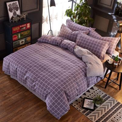 铂金磨毛四件套 糖果色小格子简约花型 标准(1.5m床) 经典格-紫