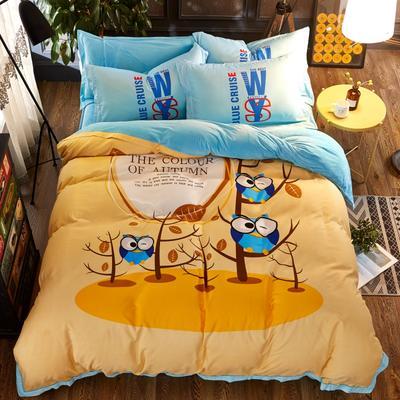 棉加绒四件套 标准(1.8m床) 快乐小鸟