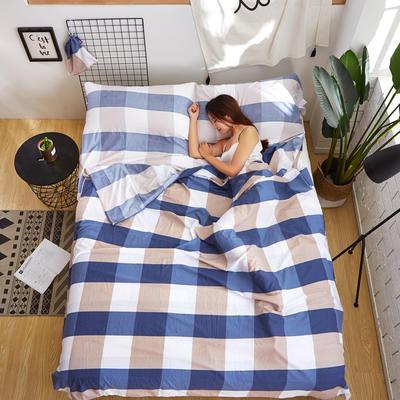 酒店隔脏睡袋 绅士蓝格 80*220cm