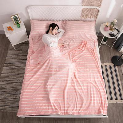 2018新款  水洗棉隔脏睡袋(专版花型) 粉条纹80*220cm