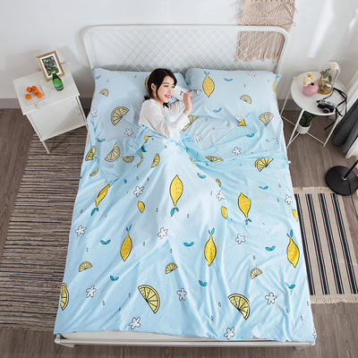 2018新款  水洗棉隔脏睡袋(专版花型) 青柠檬160*220cm
