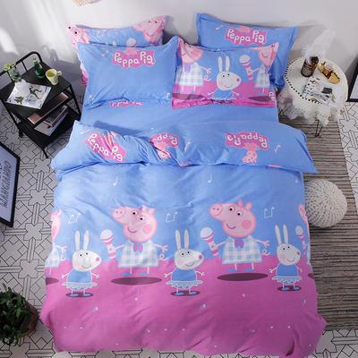 2018新款 全棉加厚磨毛四件套---北欧小清新系列 1.2m(4英尺)床三件套 粉红猪
