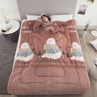 2018新款 冬季保暖多功能带袖懒人被  被子被芯 120x160cm 儿童款2.6斤 萌萌熊