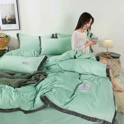 2019新款-北欧风水晶绒四件套 床单款三件套1.2m(4英尺)床 豆绿