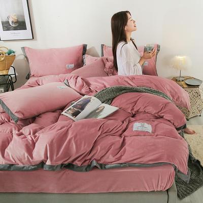 2019新款-北欧风水晶绒四件套 床单款三件套1.2m(4英尺)床 豆沙