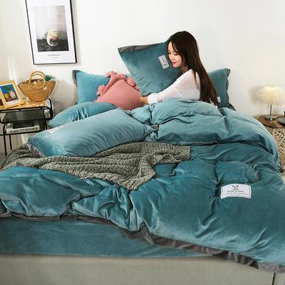 2019新款-北欧风水晶绒四件套 床单款三件套1.2m(4英尺)床 湖蓝