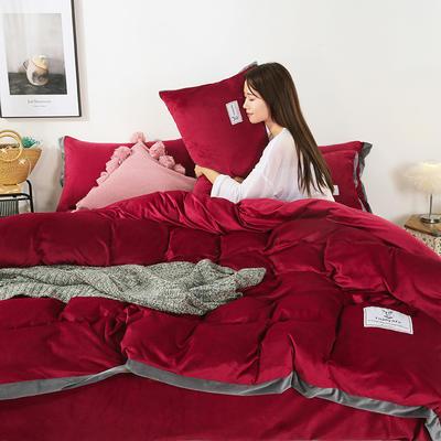 2019新款-北欧风水晶绒四件套 床单款三件套1.2m(4英尺)床 酒红