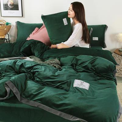 2019新款-北欧风水晶绒四件套 床单款三件套1.2m(4英尺)床 墨绿