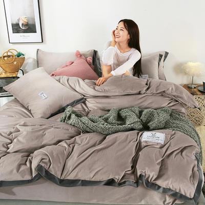 2019新款-北欧风水晶绒四件套 床单款四件套1.8m(6英尺)床 浅咖