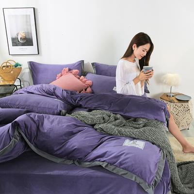 2019新款-北欧风水晶绒四件套 床单款三件套1.2m(4英尺)床 茄紫