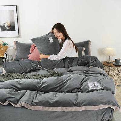 2019新款-北欧风水晶绒四件套 床单款三件套1.2m(4英尺)床 深灰