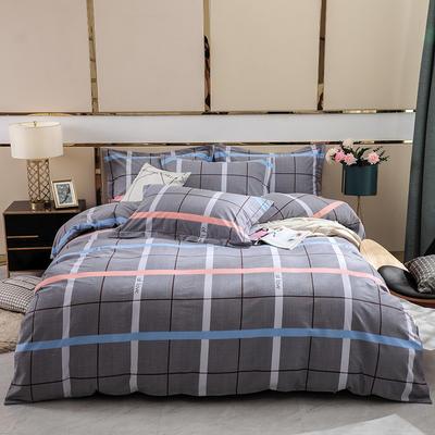 2019新款-全棉磨毛四件套 床单款1.8m(6英尺)床 卡洛尔-灰