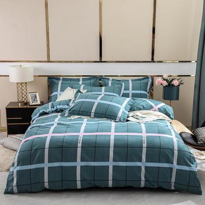 2019新款-全棉磨毛四件套 床单款1.8m(6英尺)床 卡洛尔-蓝