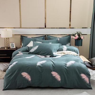 2019新款-全棉磨毛四件套 床单款1.8m(6英尺)床 叶羽