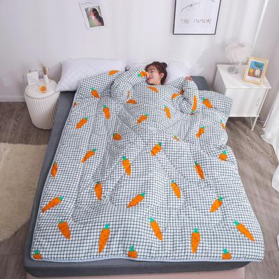 2018新款 冬季保暖多功能带袖懒人被  被子被芯 120x160cm 儿童款2.6斤 胡萝卜