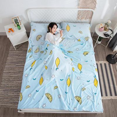 2019新款-水洗棉隔脏睡袋 青柠檬80*220cm