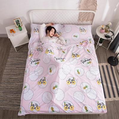 2019新款-水洗棉隔脏睡袋 小菠萝80*220cm