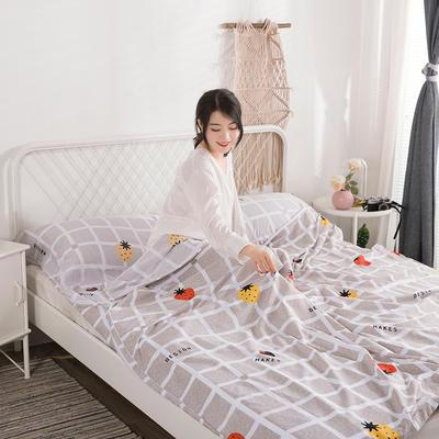 2019新款-水洗棉隔脏睡袋 草莓格120*220cm