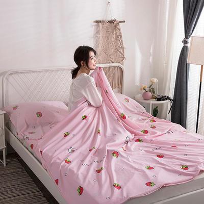 2019新款-水洗棉隔脏睡袋 粉草莓120*220cm