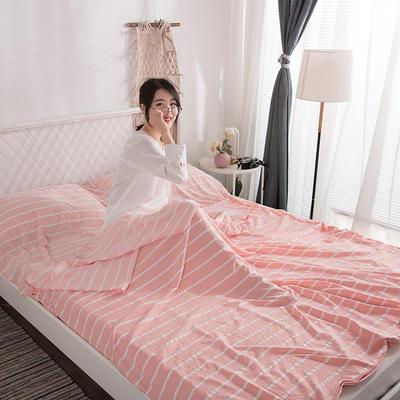 2019新款-水洗棉隔脏睡袋 粉条纹120*220cm