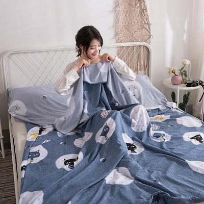 2019新款-水洗棉隔脏睡袋 搞怪猫120*220cm