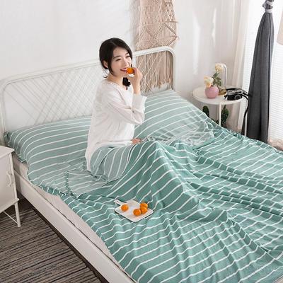 2019新款-水洗棉隔脏睡袋 绿条纹120*220cm