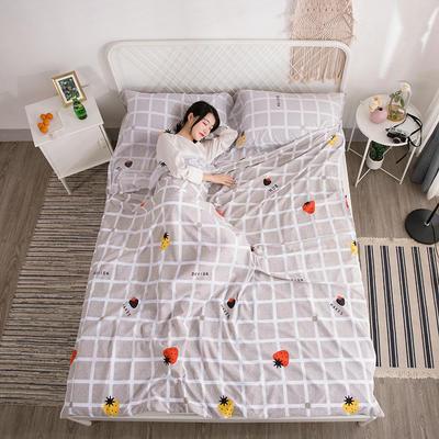 2019新款-水洗棉隔脏睡袋 粉草莓160*220cm