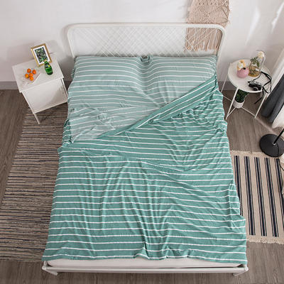 2019新款-水洗棉隔脏睡袋 绿条纹160*220cm