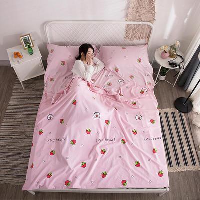 2019新款-水洗棉隔脏睡袋 粉草莓180*220cm