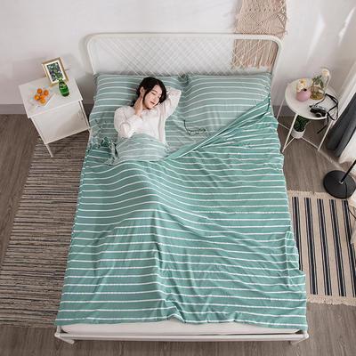 2019新款-水洗棉隔脏睡袋 绿条纹180*220cm
