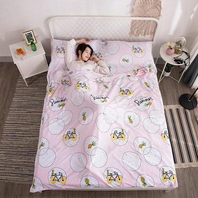 2019新款-水洗棉隔脏睡袋 小菠萝180*220cm