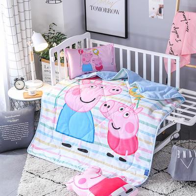 2018全棉大版花儿童夏被 单独枕套(含枕芯) 彩条佩奇