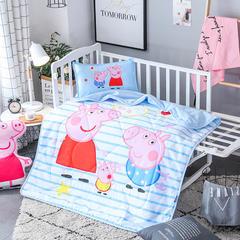 2018全棉大版花儿童夏被 单独枕套(含枕芯) 条纹佩奇