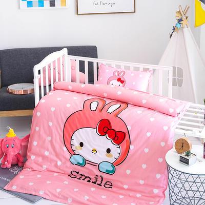 2019新款全棉大版花幼儿园单品被套 120x150cm 微笑猫咪