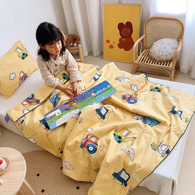 2020新款40貢緞全棉兒童夏被 115x150cm 挖掘機黃