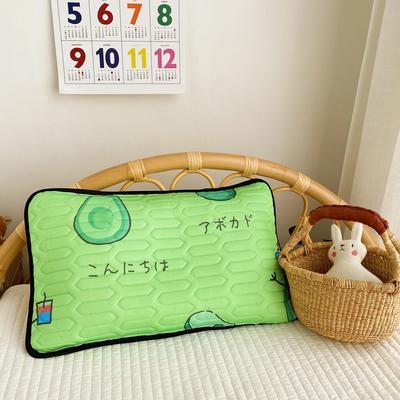 2020新款儿童凉感丝乳胶枕可拆卸 牛油果30*50cm