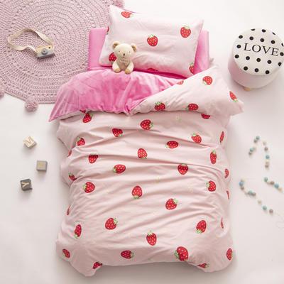 2020新款-幼儿园棉加绒印花套件小版 单被套 草莓甜心