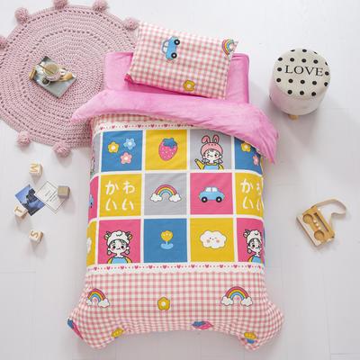 2020新款-幼儿园棉加绒印花套件小版 单被套 格子女孩