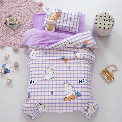 2020新款-幼儿园棉加绒印花套件小版 单被套 格子小兔