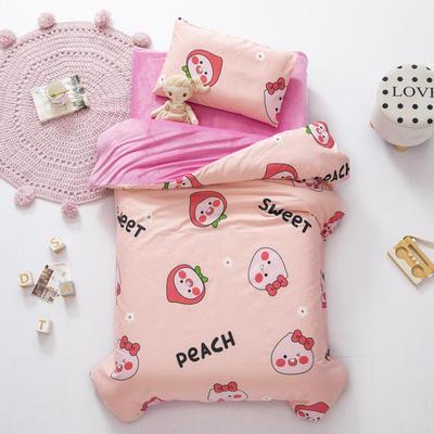 2020新款-幼儿园棉加绒印花套件小版 单被套 可爱桃
