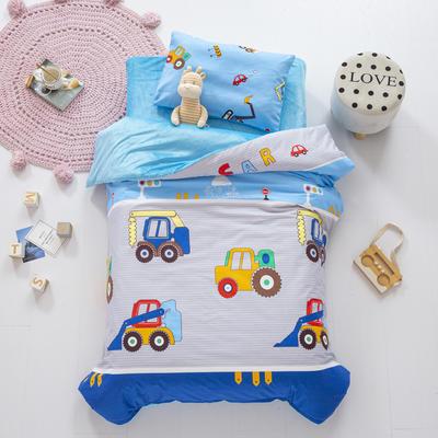 2020新款-幼儿园棉加绒印花套件小版 单被套 挖土机