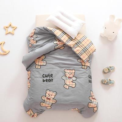 2021全棉无荧光幼儿园套件 3斤丝棉款六件套 英伦小熊 灰